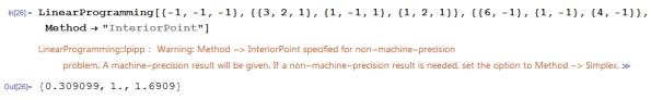 Solving using Interior Point setting of LinearProgramming