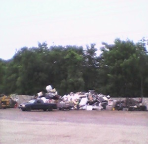 scrap metal pile from a distance